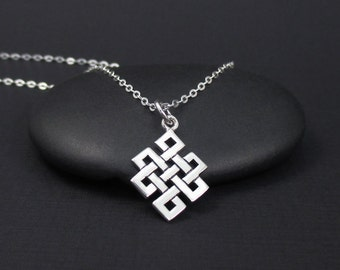 Endless Knot Necklace Sterling Silver, Buddhist Knot Necklace, Eternity Necklace, Infinity Knot Necklace, Eternal Knot, Buddhist Necklace