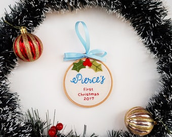 Baby's 1st Christmas ornament, customized mistletoe Christmas ornament, personalized baby ornament, baby shower gift, holiday tree decor