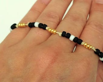 Black White & Gold Beaded Adjustable Bracelet