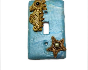 Decorative Switch plate Cover -Seahorse LightSwitch Cover  - polymer clay switch plate cover - starfish switch plate - ocean scene