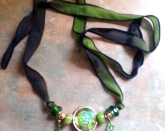 Beautiful Green and Black Silk Ribbon Necklace/Bracelet With Butterflies