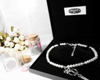 "Necklace beads silver cream ""Alexandra 2"""