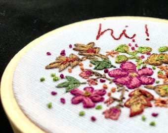 Portable FlowerGarden - Embroidered hoop art
