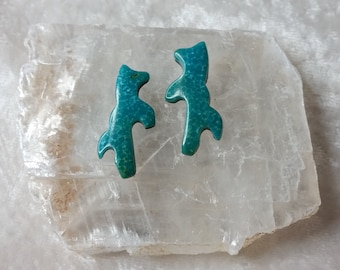 Blue Turquoise Rearing Horse/ Mustang Cabochon Pair/ backed/ Sonora Mexico