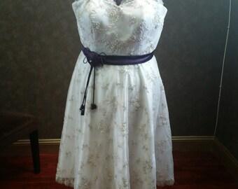 Plus Size Tea-Length Lace Wedding Dress by Award Winning Bridal Salon