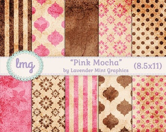 "Pink and Brown Digital Journal Papers - ""Pink Mocha"" - Polka Dots, Damask, Floral, Vintage, Shabby Chic, Aged Papers, Rustic Background, CU"