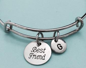 Best friend bangle, best friend charm bracelet, expandable bangle, charm bangle, personalized bracelet, initial, monogram