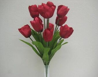 "RED Tulip Bush Satin 14 Artificial Silk Flowers 18"" Bouquet 345RD"
