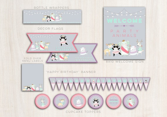 Darling Divas Animals Party Pack  - Animal Dance Party Supplies - INSTANT DOWNLOAD