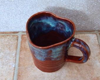 Coffee mug tea cup heart shape rim handthrown in stoneware pottery ceramic handmade wheel thrown