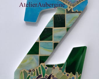 Monogram, Letter Z # 2, typography with stained glass mosaic, custom letter, mosaic hanging letter.