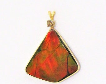 14kt Gold Ammolite with diamond Pendant.