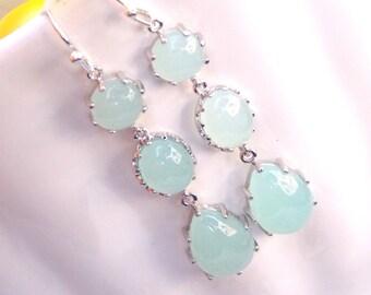 Wedding Jewelry, Mint Earrings, Aqua green, Aqua,Silver, Bridesmaid Jewelry, Bridesmaids Earrings, Dangle, Long Earrings, Wedding Earrings