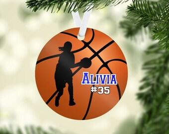 Basketball ornament, Basketball Christmas ornament, personalized ornament, girl basketball player gift, basketball team gift