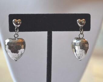 Heart Earrings, Silver Earrings, Vintage Earrings, Puffy Heart Earrings, Dangle Earrings, Silver Hammered Earrings, Silver Heart Earrings