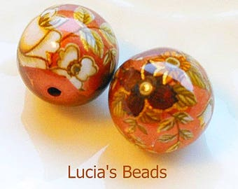 A Beautiful Pair of Japanese Tensha Beads Antique White Rose on Copper 16 MM