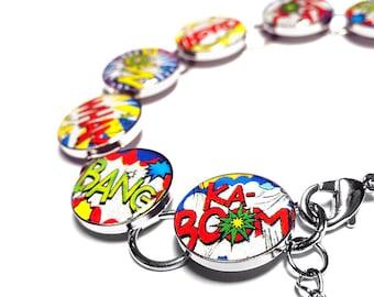 Comic Book Superhero Bracelet, Handmade Bracelet, Comic Book Bracelet, Retro Bracelet, Resin Bracelet, Handmade Jewelry, Handmade