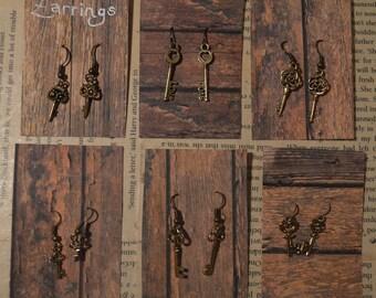Metal Key Charm Hook Earrings- choose from variety