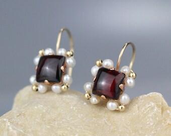 January Birthstone Earrings, Pearl Garnet Earrings, Garnet Square Earrings, Birthstone Earrings, Garnet Birthstone, Garnet Jewelry, Gifts