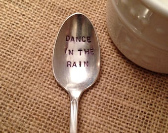 Stamped Silver Plate Coffee or Tea Spoon, Hand Stamped Vintage Spoon, Silver Teaspoon, Hostess Gift, Best Friend Gift
