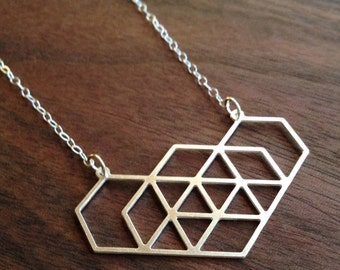 Geo Hex I, Necklace in Silver