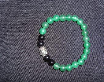 Green Aventurine, Black Jasper, Silver Buddha Bracelet - 8mm