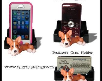 Red and White Basenji Dog Holder for Cell Phone IPod IPhone or Business Cards OOAK by Sally's Bits of Clay