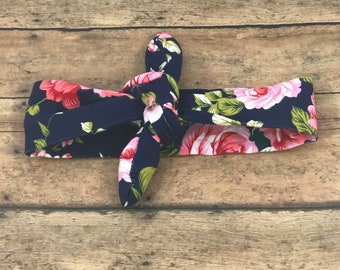 Floral Headband - Flower headband - Top Knot Headband - Jersey Knit Headband - Baby Headband - Baby Head Wrap - Soft Baby Headband - Navy