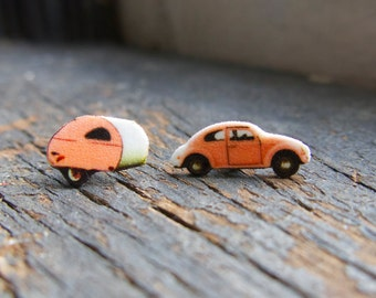 Pink Retro Beetle Camper Earrings, Trailer Travel Vintage Inspired, Adventure Awaits Quirky Jewelry For Her Accessories Kitschy World Travel