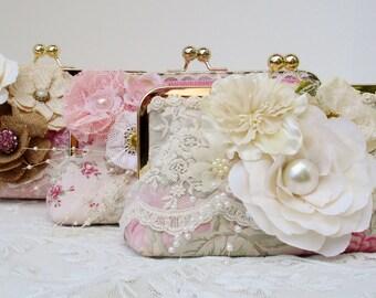 Pink Bridesmaid Clutch / Shabby Chic Handbag / Vintage Wedding / Shabby Chic Bride / Farmhouse Wedding