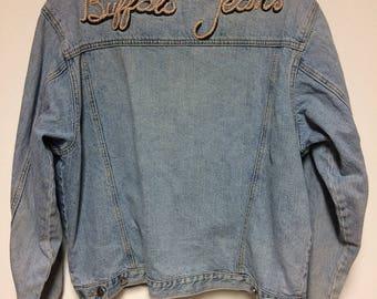 Vintage Buffalo Jeans Blue Denim Jacket, Mens Vintage Outerwear, Size Medium, Trucker Denim Jean Jacket, Made in Hong Kong