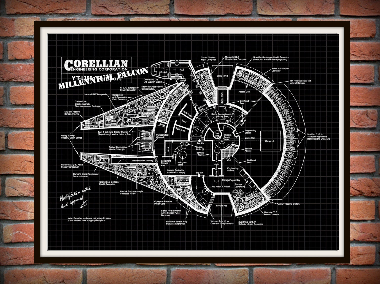 millennium falcon patent art print wall poster drawing illustration star wars corellian