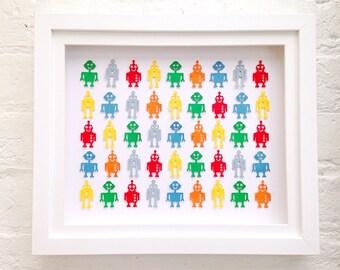 Colourful robot nursery decor, robot wall art for playroom, robot art for boys, toddlers robot wall decor, robot themed kids bedroom