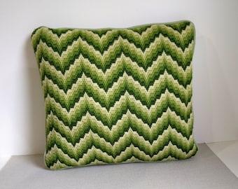 70's Bargello pillow / flame stitch needlepoint square Pillow /  green moire taffita backer with piping /chevron needlepoint pillow