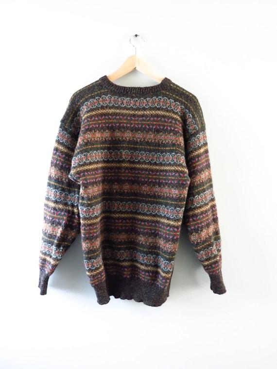 Vintage Shetland Sweater Vintage 80s Shetland Wool Fair Isle
