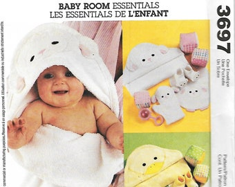 McCall's 3697 Baby Necessities Sewing Pattern, Baby Towel, Wash Mitt, Booties, Bib And Blocks, UNCUT