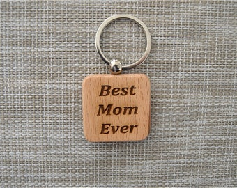 Wood Key Rings with Laser Engraved Slogans - Pick 3