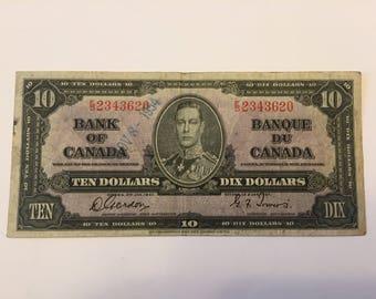 1937 Canadian Ten Dollar Bill