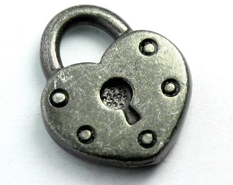 Heart Shaped Padlock Charm, 16x14mm, with Gunmetal Finish, Made in USA, #TC162