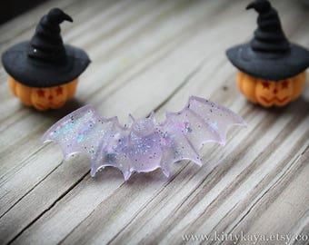 Lavender Glitter Bat Brooch