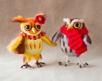 Needle Felted Cute Funny Little Owl. Owl Soft Sculpture. Needle Felted Animal. Felt Owl.