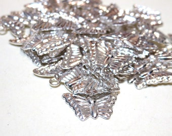 Silver Plated Butterfly Charms - 13x8mm 90 pieces - Drop