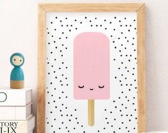 Ice Cream Print, Ice cream poster,pink ice cream Ice cream wall art, food poster, Kitchen printables, Kitchen Poster, Children's Food Art