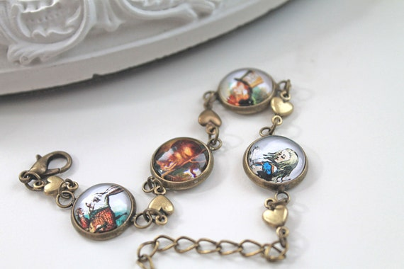 Alice in Wonderland bracelet White Rabbit Cheshire Cat Mad Hatter Tenniel Lewis Carroll