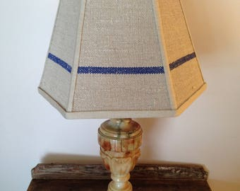 Lamp Shade in Blue Grain Sack - Vintage Lampshade - Country farmhouse