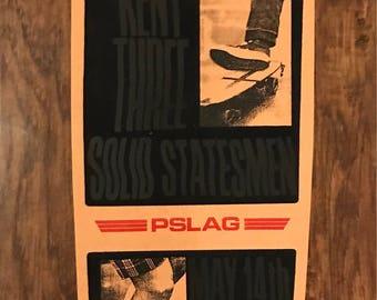 The Drags/Kent Three/Statesman flocked gig poster PSLAG