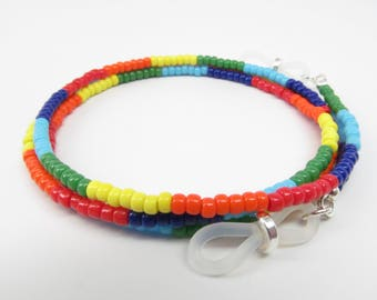 LGBT LGBTQ Rainbow beaded eyeglass chain, reading glasses chain, glasses leash, glasses necklace holder, glasses lanyard, eye glass chain