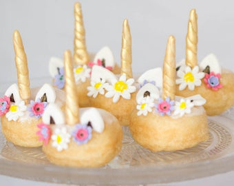 12 sets of Edible gold unicorn cupcake topper set -72 pieces in total - sugar fondant flowers horn and ears for donuts cakes and cupcakes