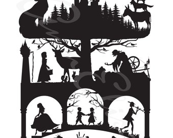 Brothers Grimm Fairy Tales Silhouette Collage