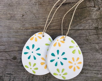 Clay easter egg ornament, easter tree decor, centerpiece, spring decoration, floral, boho, bohemian pattern, easter basket gift